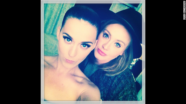 "Two of the world's biggest pop stars -- Katy Perry, left, and Adele -- appear in a selfie that was posted to <a href='http://instagram.com/p/oj4Oyvv-dG/' target='_blank'>Perry's Instagram account</a> on Wednesday, May 28. It was taken while Perry was in London for her Prismatic World Tour. ""...And on the 2nd LDN show the Queen graced me with her presence,"" Perry wrote."