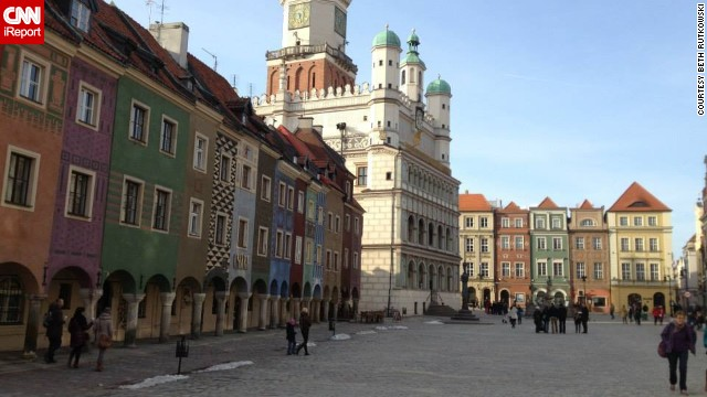 "<strong>18. Poznan's Stary Rynek: </strong>The <a href='http://ireport.cnn.com/docs/DOC-1138378'>old town square</a> in the city of Poznan captured Julius Marchwicki's heart. It ""is the quintessential Polish town square, featuring a ratusz (historic city hall), colorful buildings, outdoor bars/restaurants and sculptures or artwork,"" he said. He finds it more personal, accessible and less touristy than most European town squares. Plus, he says, it features some of the best beer around."
