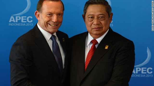 FILE: Australia's Tony Abbott and Indonesian President Susilo Bambang Yudhoyono at the APEC Summit in Bali, October 7, 2013.