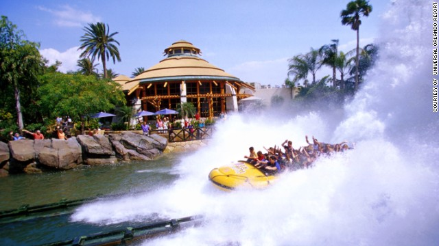 11. Islands of Adventure at Universal Orlando features the Jurassic Park river adventure, where visitors will spot friendly and not-so-friendly dinosaurs.