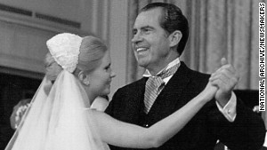 President Richard Nixon dances with his daughter, Tricia, at her wedding on June 12, 1971, at the White House.