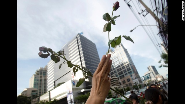 "A protester adopts the three-fingered salute from ""The Hunger Games"" during an anti-coup demonstration in front of the Australian Embassy in Bangkok on June 4."
