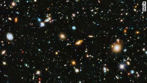 Using a combined range of colors available to the Hubble Space Telescope, from ultraviolet to near-infrared light, astronamers have pieced together this compreshensive picture of a small section of the universe in the southern hemisphere. Within this image are 10,000 galaxies, going back in time as far as a few hundred million years after the big bang.
