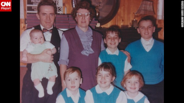 """My mother was an avid seamstress and took great pride in showing off her children dressed in the turquoise tops she had made for my brothers and sisters,"" said <a href='http://ireport.cnn.com/docs/DOC-1119635'>Doug Barker</a> of Westfield, Indiana about the matching outfits. ""I just spoke with her and she still remembers dressing us alike. I'm sure most will notice but, besides the matching outfits, I especially like her cat glasses and my Dad's bow tie. She told me how important it was to dress the children alike back then."""