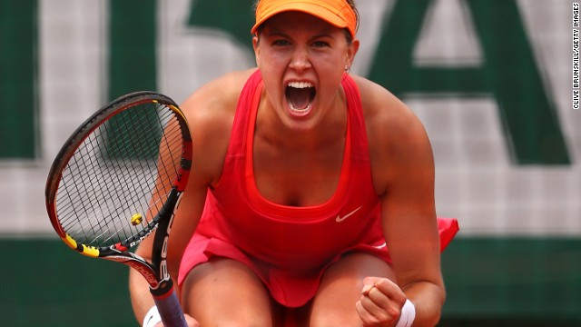 Bouchard celebrates a winning point during her battling semifinal performance against Sharapova.