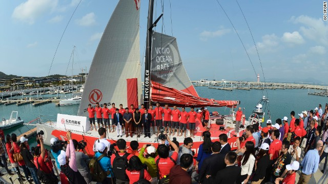 The Dongfeng crew received a healthy crowd for their official boat launch, and have since embarked on their first transatlantic voyage.