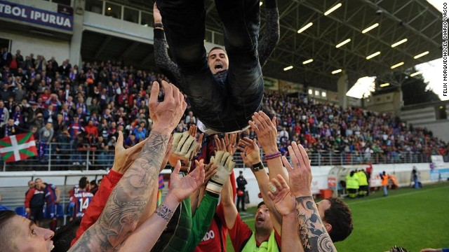Gaizka Garitano, a former player at the Basque club, is the man who has masterminded back-to-back promotions for Eibar. With second-placed Deportivo La Coruna losing in the final round, Eibar clinched the second division title to secure the first trophy in the club's 74-year history.