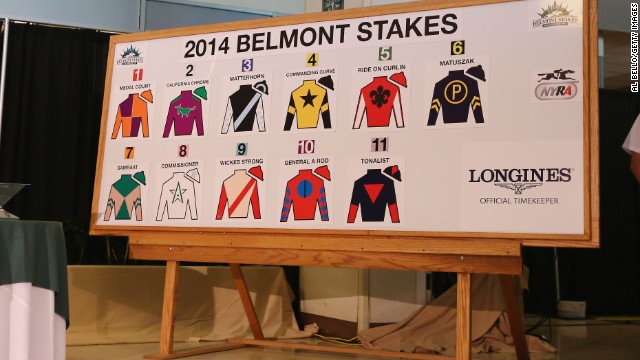 California Chrome will face 10 rivals at Belmont Park, including Kentucky Derby runner-up Commanding Curve and Ride on Curlin, second at the Preakness Stakes.