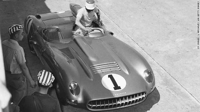 Here's the SS Corvette during a pit stop during the 1957 12 Hours of Sebring race at Florida's Sebring International Raceway.