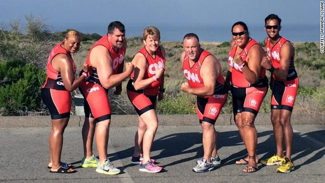 The Fit Nation team completed a mock triathlon on their last day, racing against each other for bragging rights. From left: Karen Manns, Mike Wilber, Connie Sievers, Ron Cothran, Sia Figiel and Jamil Nathoo. Nathoo crossed the finish line first.