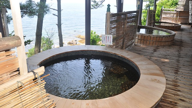 Shirahama's Hotel Seamore features open-air bathtubs made out of used pickled apricot barrels and filled with natural onsen water.