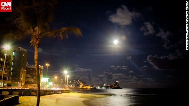 The moon shines on Ondina Beach in Salvador, the capital of the state of Bahia and known to many as the African heart of Brazil.