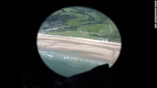 The beaches of Normandy are seen from a helicopter on June 6.