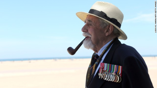 British veteran James Rawe arrives at Sword Beach in Ouistreham, France.