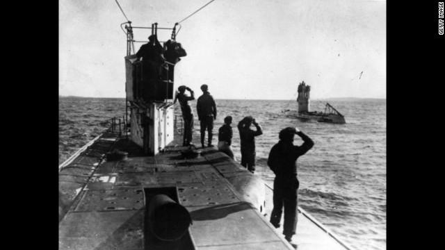 German U-boats, or submarines, patrol the Mediterranean coast.
