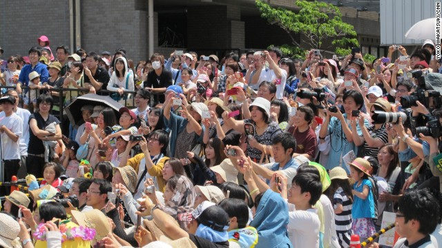 The most popular mascots are treated like rock stars in Japan. Fan scream their names, snap photos, and record videos as they take the stage.