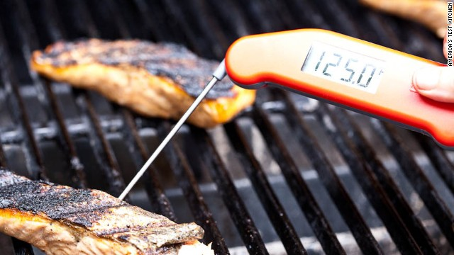 Cover the grill and cook until the centers of the fillets are opaque and register 125 degrees on an instant-read thermometer, about 3 to 7 minutes longer.