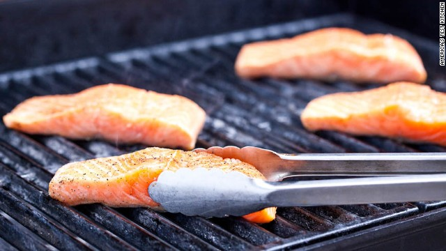 Place the fish skin side down on the grill, and diagonal to grate slats.