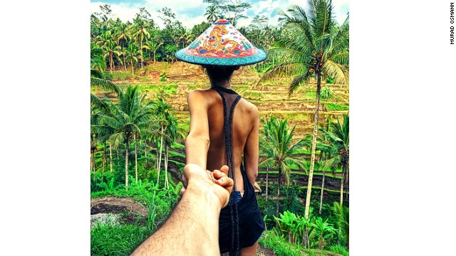 The project comprises near-identical poses from the protagonists, but in different breathtaking spots around the world. This one's in Bali.