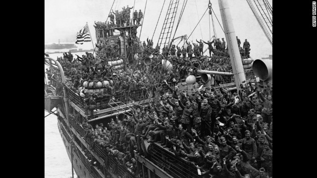 U.S. troops returning home from France are seen on the USS Agamemnon in Hoboken, New Jersey, in 1919.