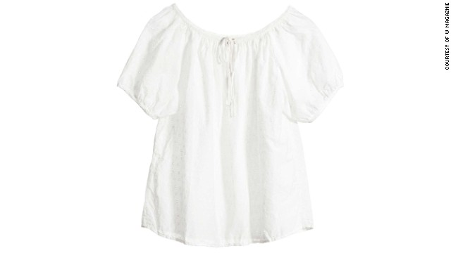 A sweet, feminine white blouse that looks great with jean shorts is at the top of the list. NilI Lotan Shrunken Rebecca Top-Eyelet, <a href='nililotan.com' target='_blank'>nililotan.com</a>
