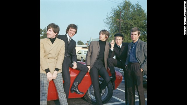"Members of the English rock group The Hollies visit Hollywood in 1966. Graham Nash, from left, Allan Clarke, Tony Hicks, Bobby Elliott and Eric Haydock sang songs like ""Bus Stop"" and ""Just One Look."" Nash later formed Crosby, Stills and Nash."