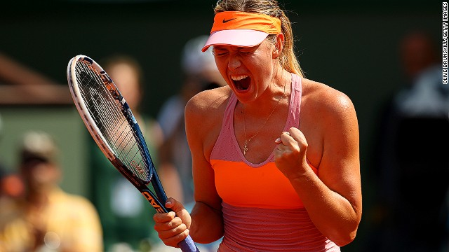 The Russian, who has featured in the last three French Open finals, celebrates as she seals the first set 6-4 in just under an