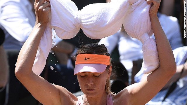 After some tough matches in the lead-up to the final, Sharapova keeps cool in between games.