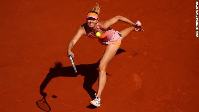 Under sunny Parisian skies, Sharapova takes a 4-2 lead as she breaks Halep in the fifth game of the decisive third set.
