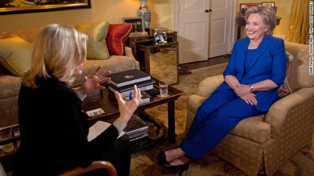 "Clinton sits down with ABC News anchor Diane Sawyer on Thursday, June 5, for her first television interview in conjunction with the release of her new book, ""Hard Choices."""