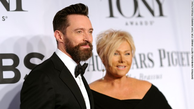 Hugh Jackman and Deborra-Lee Furness arrive for the 68th annual Tony Awards