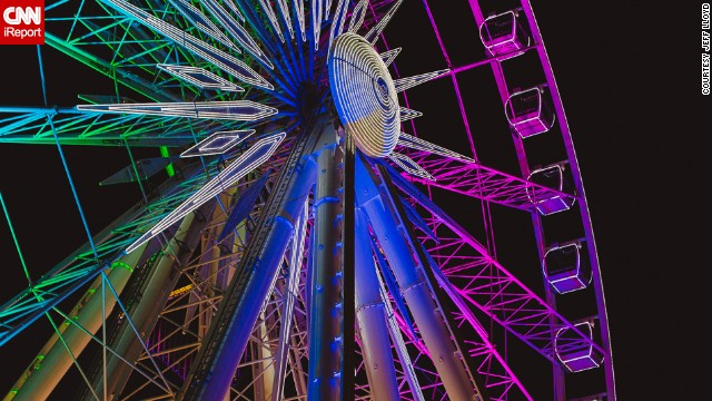 Jeff Lloyd knew that he had captured something amazing when he took this photo of the SkyView Ferris Wheel in Atlanta, Georgia. The SkyView is nearly 20 stories high and offers an impressive alternating light show when the sun sets.