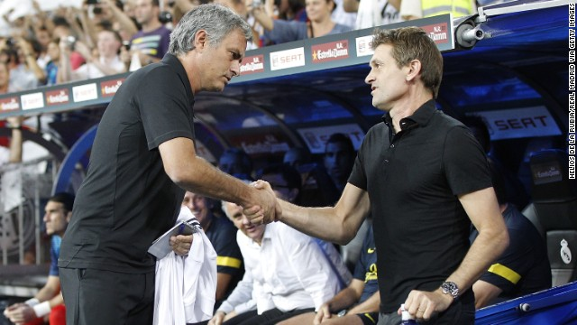 <strong>Jose Mourinho:</strong> With seconds left in Spain's 2011 Supercopa final, Real Madrid's Marcelo unleashed a dirty tackle on Barcelona's Cesc Fabregas. Marcelo was ejected, but it wasn't enough to sate tempers between the rivals. With his Madrid team down 5-4 on aggregate and a melee ensuing, Mourinho slunk into a crowd behind Barcelona assistant coach Tito Vilanova and planted a finger firmly in his eye. This image is from a less hostile time in 2012, with Mourinho, left, shaking hands with Vilanova.