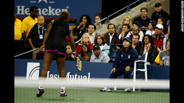 <strong>Serena Williams:</strong> In a 2009 U.S. Open semifinal against Kim Clijsters, Williams lost her temper at the end of the first set and smashed her racket. Clijsters later won the match on a penalty point after Williams began cursing at a line judge and shaking her racket. Williams reportedly threatened to shove a tennis ball down the line judge's throat. Game, set, match, Clijsters.