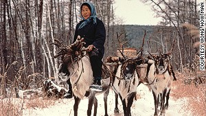 A reindeer herder on China\'s northeastern border with Russia.