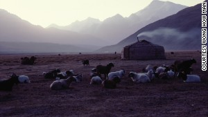 A Tajik nomadic yurt near the Afghan border.