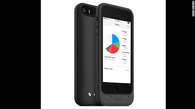The <a href='http://www.mophie.com/shop/space-pack' target='_blank'>Mophie Space Pack</a> ($149) is three phone helpers in one. Made for the iPhone 5 and 5S, it serves as a protective case and a charger, as well as providing up to 32GB of additional storage space.