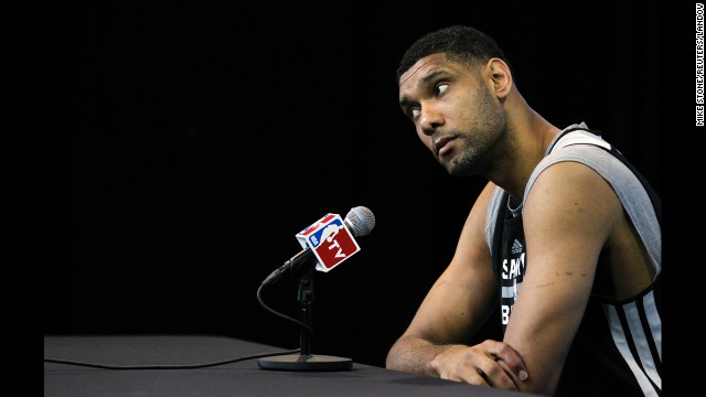 Tim Duncan of the San Antonio Spurs attends a media session Friday, June 6, a day after Game 1 of the NBA Finals. Duncan is seeking his fifth NBA title with the Spurs.