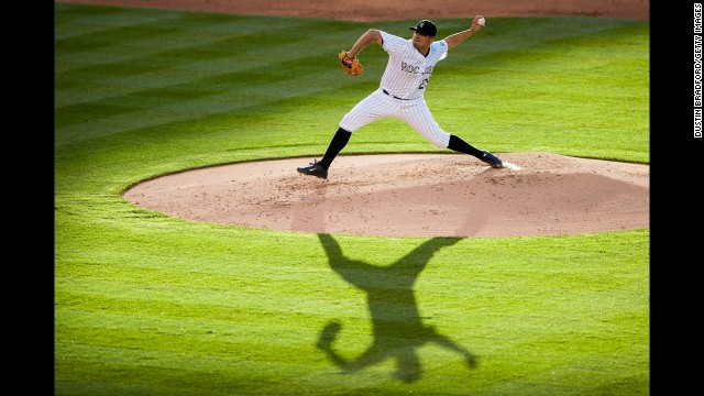 Jorge De La Rosa of the Colorado Rockies delivers a pitch against the Arizona Diamondbacks during a Major League Baseball game Tuesday, June 3, in Denver. Arizona won the game 4-2.