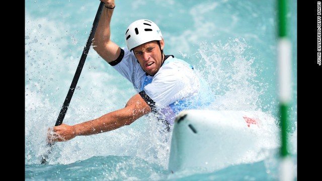 Matija Marinic of Croatia competes during a Canoe Slalom World Cup event Friday, June 6, at the Lee Valley White Water Centre in London. This was the first event of the World Cup season, which ends in mid-August.