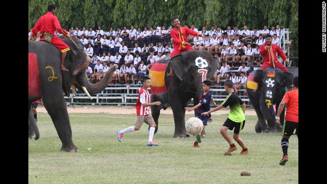 Thai youth go for the ball during a soccer match between people and elephants Monday, June 9, at the Ayutthaya Elephant Camp in Thailand's Ayutthaya province. The match was organized by the camp to celebrate the upcoming World Cup in Brazil.