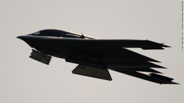 A B-2 takes flight from Whiteman in April 2011. The B-2 is operated by a crew of two -- a pilot in the cockpit's left seat and a mission commander in the right.