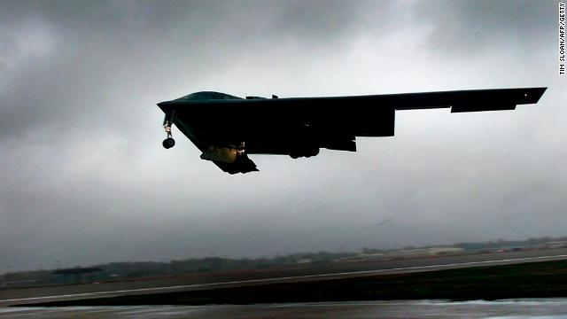 A B-2 takes off from Whiteman for a training run to Alaska in October 2002. B-2s can carry conventional or nuclear weapons. The planes have flown combat missions over Iraq, Afghanistan and Kosovo.