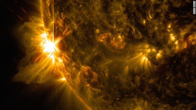NASA's Solar Dynamics Observatory (SDO), which observes the sun 24 hours a day, captured this image of a solar flare on June 10.