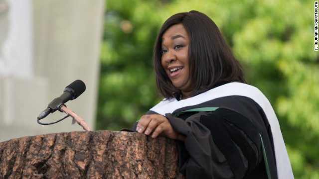 "The creator of ""Scandal"" and ""Grey's Anatomy"" spoke at Dartmouth College's commencement on June 8. ""Whenever you see me somewhere succeeding in one area of my life, that almost certainly means I am failing in another area of my life,"" <a href='http://www.cnn.com/video/?/video/us/2014/06/10/pkg-shonda-rhimes-dartmouth-graduation-speech.wcax&video_referrer='>she told the graduates</a>. Rhimes is a 1991 graduate of the college."