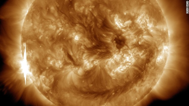 NASA captured this second flare, which appears as a bright flash on the left side of the sun, June 10.