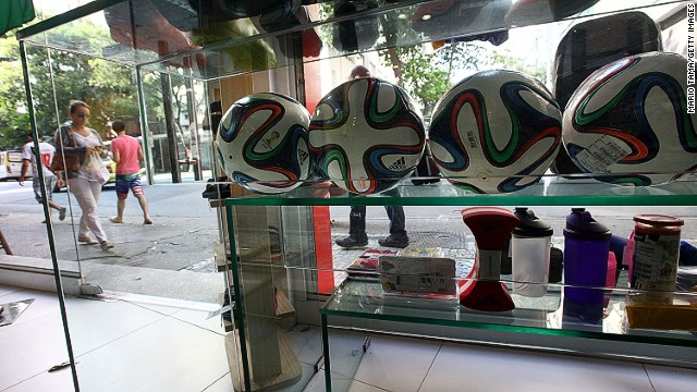 Brazucas joined tourist merchandise on the shelves in Rio in time for the 2014 World Cup. Adidas is selling the official match ball for $160 in the U.S.