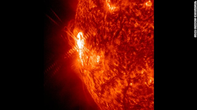 A large active region gave off warning signs as a possible source of powerful solar storms. It already shot off two smaller flares on January 2, as shown here in a wavelength of extreme ultraviolet light.