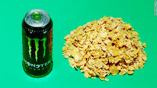 Energy drink: Monster Energy. This 16-ounce can of Monster Energy has 54 grams of sugar. It contains the same amount of sugar as about 3.5 cups of frosted flakes.