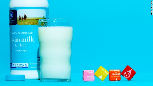 Milk: Skim milk. An 8-ounce glass of skim milk has about 11 grams of sugar. A single Starburst candy has 2.7 grams.